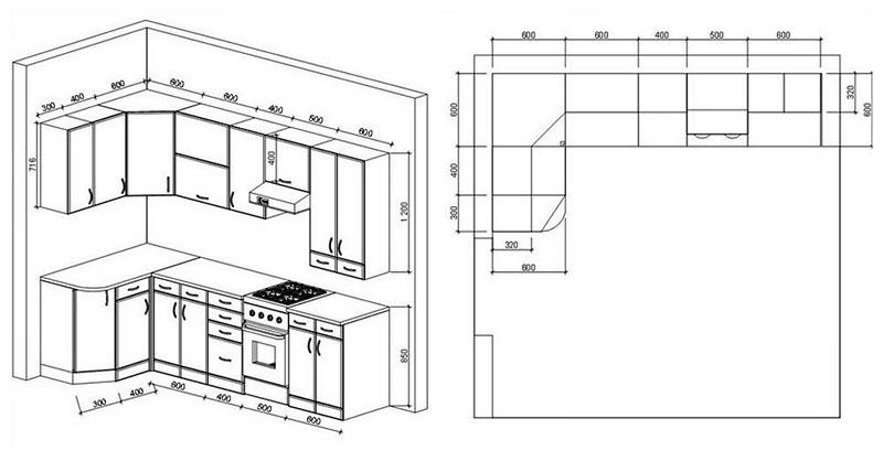 Проект помещения угловой кухни