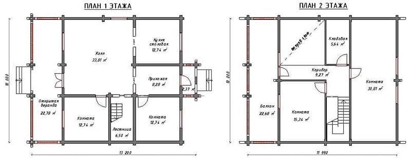 План 1 и 2-го уровня жилья 10 х 12 м2