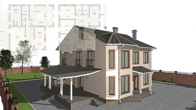 Индивидуальный проект особняка 1090х810 м2