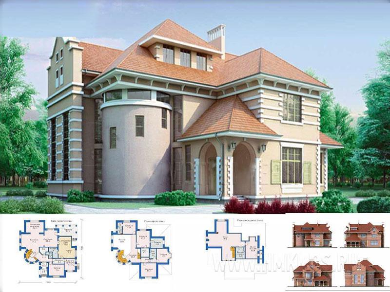 Разработка двухэтажного жилого строения с закругленными углами