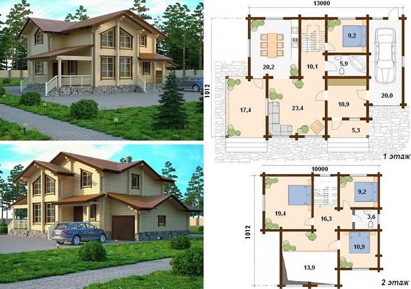 Проект двухэтажного брусового коттеджа размером 1300х1012 м2