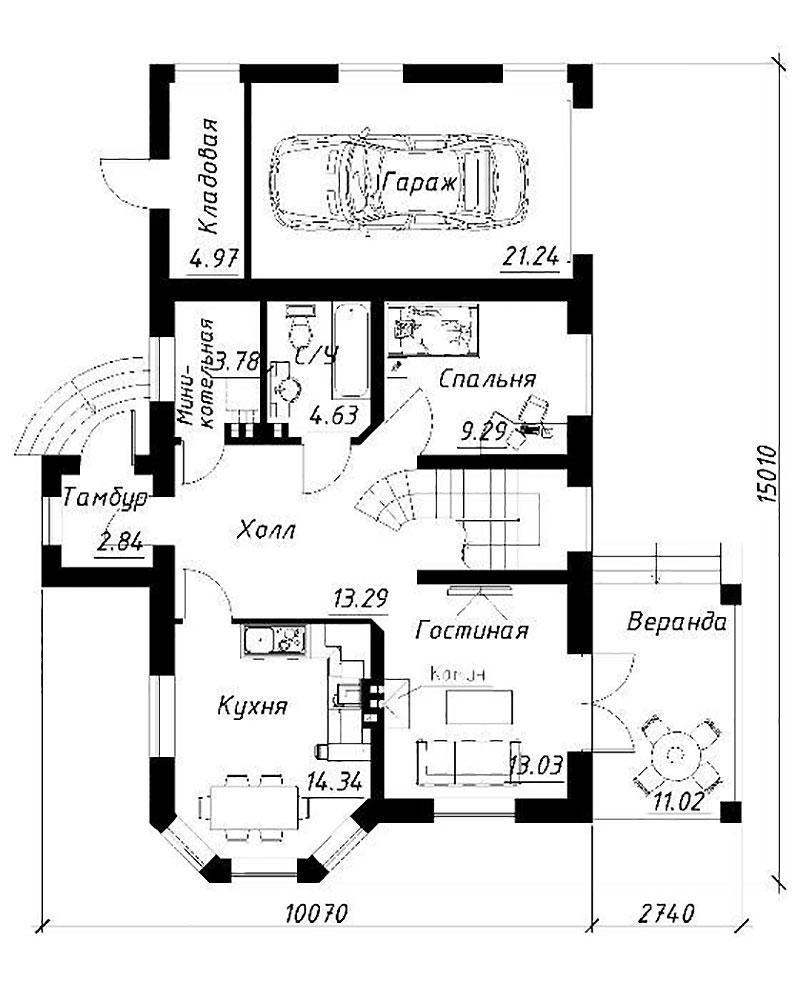 Вариант планировки первого этажа