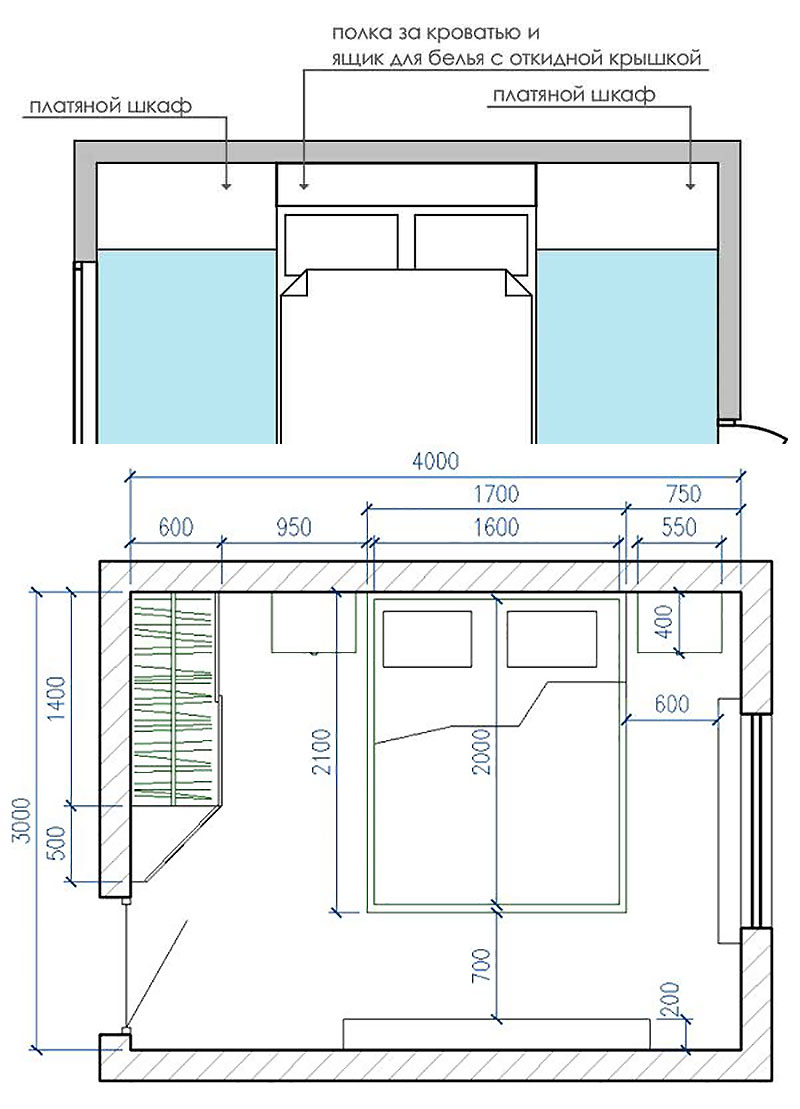Два варианта планировки небольшой спальни